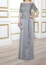 Light Gray Chiffon With Lace Top Zipper Back Off Shoulder Custom Made Vestido Novia 2018 Elegant Mother of the Bride Dresses