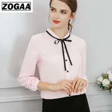 New Spring Autumn Tops Office Ladies Blouse Fashion Long Sleeve Bow Slim White Shirt Female Cute Bodycon Work Blouses Blusas luoteemi brand new fashion vintage green color stud earrings inlay tiny shining zircon jewelry for women party accessories