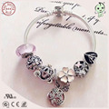 New Arrival European Famous Brand Gift Silver Jewelry Pink Flower Charm Series 100% 925 Pure Silver Charm Bracelet