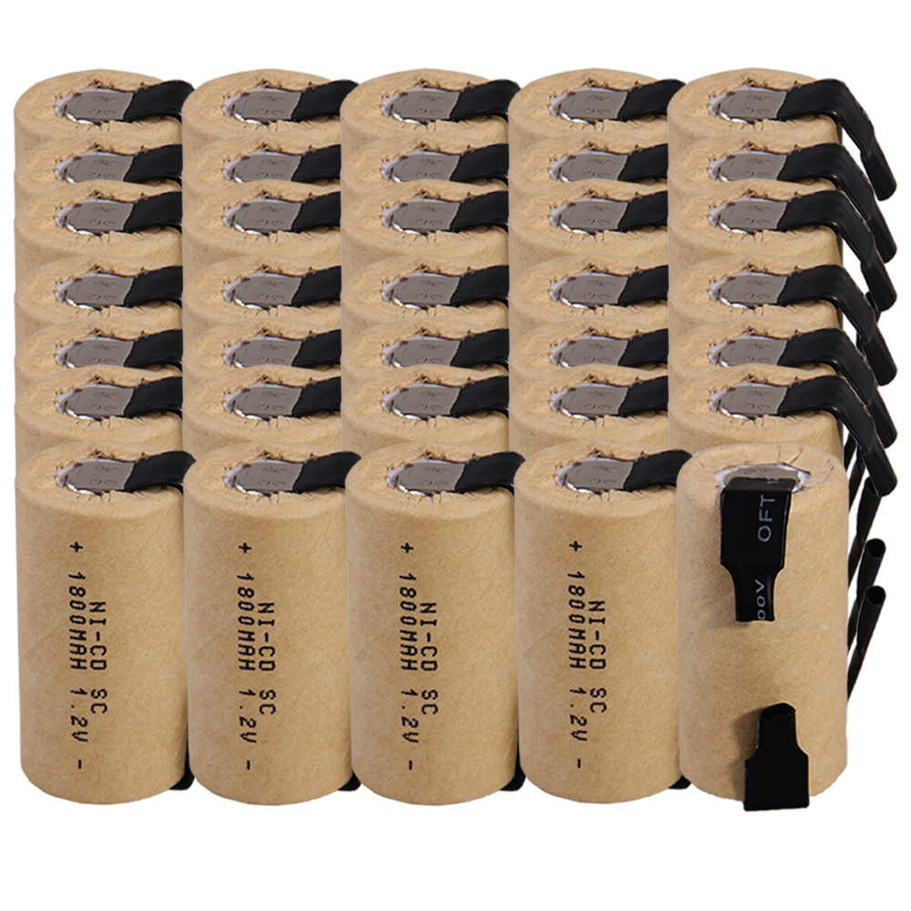 Prix le plus bas 35 pièces SC batterie 1.2 v batteries rechargeables 1800 mAh nicd batterie pour outils électriques akkumulator