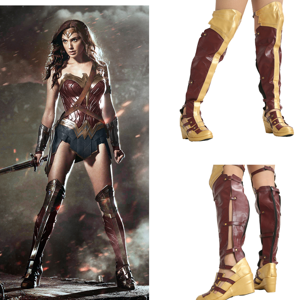 Wonder Woman Fashion Long Boots Movie Cosplay Props Women Shoes 2018 Halloween Festival Party Female PU Leather Boot Shoes