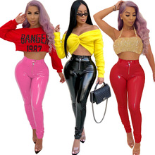 купить Women PU Pants Sexy Bodycon Pencil Pants Club Outfit Female High Waist Elastic PU Fleece Thick Pants Zipper Fleece Trousers по цене 954.82 рублей