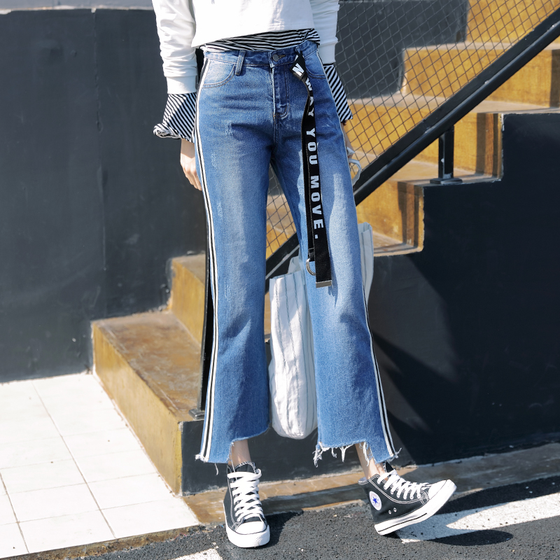 2017 New Korean Harajuku Women Denim Jeans Spring High Waist Slim Jeans Pants Female Casual Side Stripe Straight Jeans