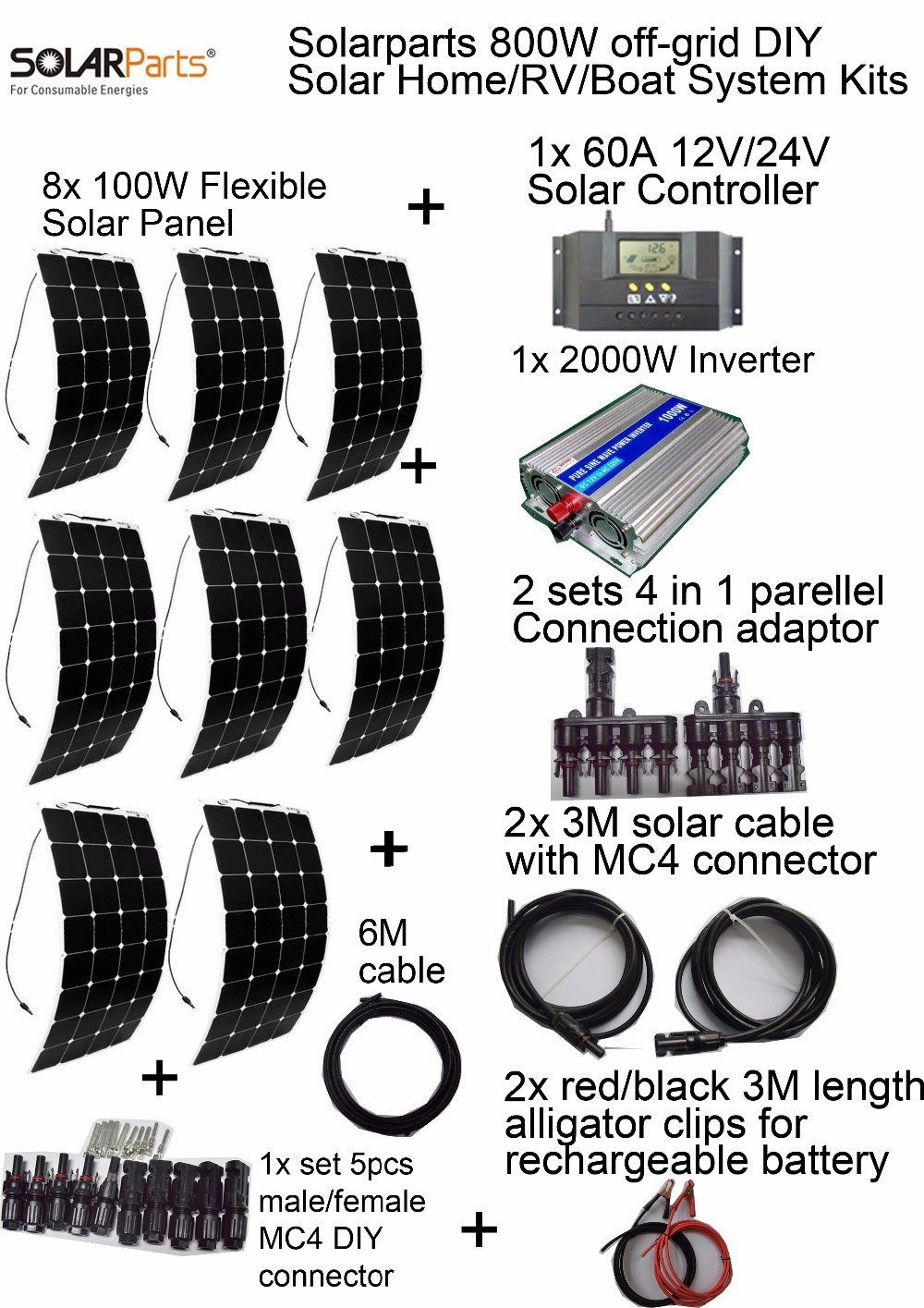BOGUANG off-grid Solar System KITS 800W flexible solar panel 1pcs 60A controller 2KW inverter 2 sets 4 in1 MC4 adaptor cable solarparts off grid solar system kits 800w flexible solar panel 1pcs 60a controller 2kw inverter 2 sets 4 in1 mc4 adaptor cable