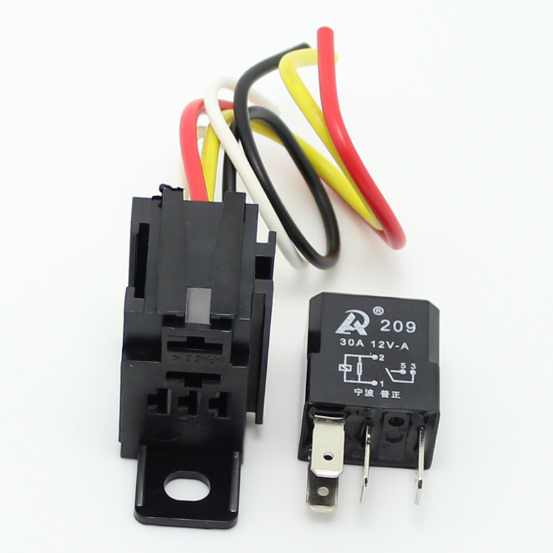 5 Sets Car 30a 12v 4pin Auto Relay And 4pin Relay Holder