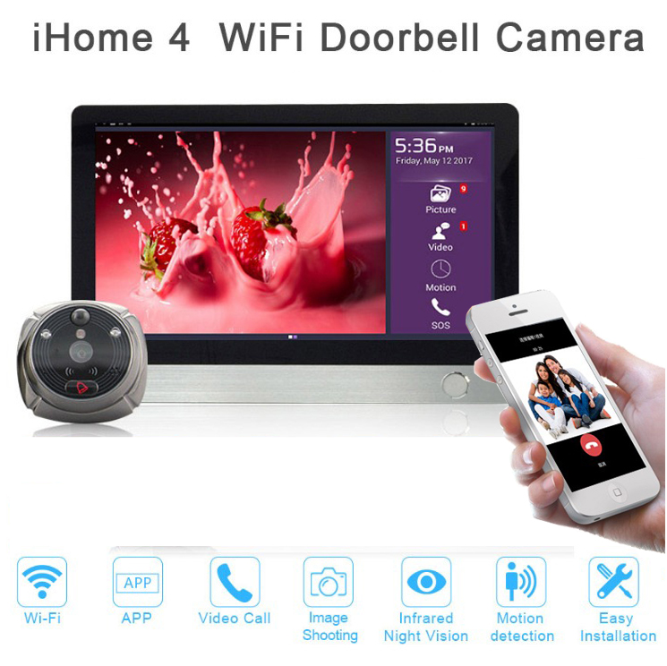New Door viewer ihome4 for apartment security,night vision wifi door bell camera video door phone super long standby time