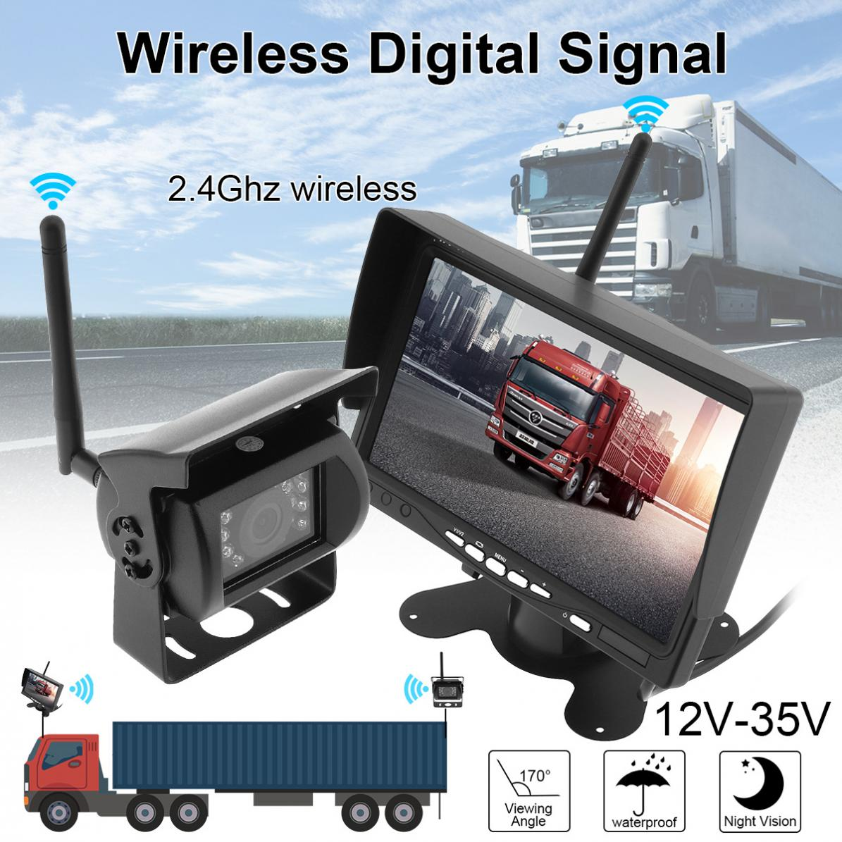 <font><b>7</b></font> <font><b>Inch</b></font> Wireless Backup Camera Rear View Camera System HD TFT LCD Waterproof Night Vision Vehicle Rear View <font><b>Monitor</b></font> for Truck RV image