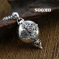 SOQMO 100% Real 925 Sterling Silver Necklace Pendant Women or Men Gem Vajra Gaudencio box Pendant Fine Jewelry SQM145