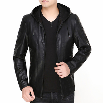 M-3xl Spring New Men's Leather Jacket Thin Section Haining Leather Hooded Leather Jacket 2020 Outwear Men Genuine Suede Jacket