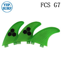 Surf Fins FCS G7 Fin Honeycomb Surfboard Fin Green color surfing fin Quilhas thruster surf accessories new style carbonfiber orange carbon strip fcs ii surfboard fins thruster fin set 3 compatible m7 surf fin