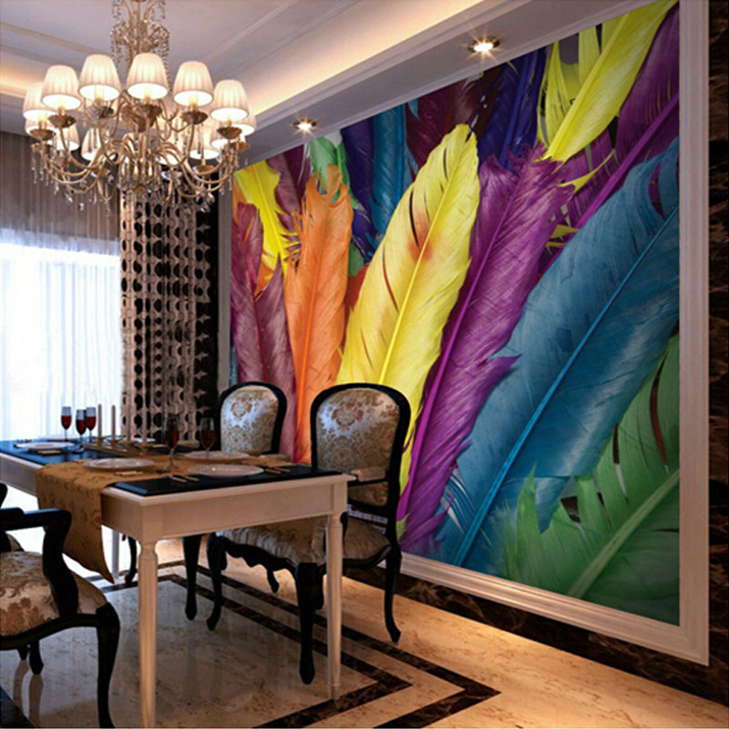 Customized Mural Wallpaper Modern Colourful Feathers 3D Print Wall Posters Art  Mural Painting Decals Home Decor Photo Wallpaper In Wallpapers From Home ... Part 77