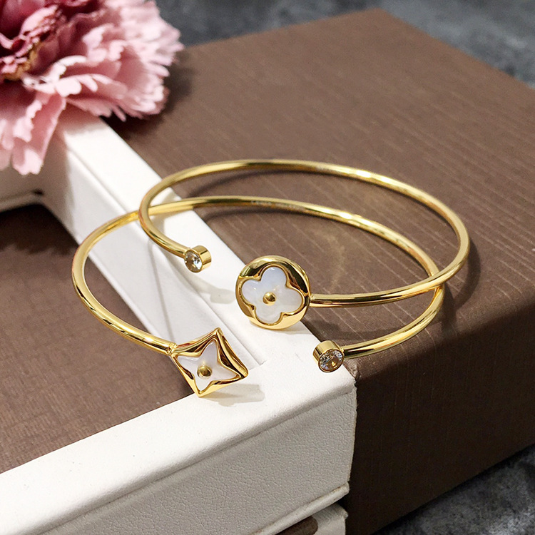 High-Quality Famous Brand Luxury Jewelry Cuff Open Adjustable Stainless Steel Bracelets For Women Wedding Gift gold open cuff bracelets for women bijoux jewelry