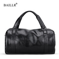BAILLR Brand Vintage men messenger bags high quality soft pu leather handbag large capacity travel Bags Pillow Casual Men's Tote