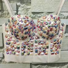 New Plus Size Colorful Rhinestone Bead Pearls Bustier Push Up evening clup Bralette Women's Bra Cropped Top Vest w1175