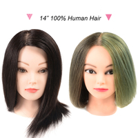 100 Human Hair Training Head For Beauty Academy Practice Curl Dye Cut Hairdressing Head 14 Professional