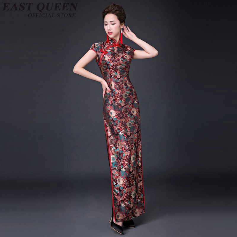 Chinese traditional oriental women qipao cheongsam elegant tunic slim chinese  embroidered long dress  cheongsam dress  AA3197 F