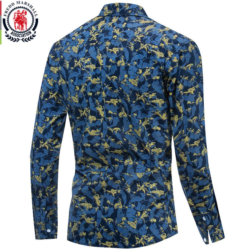 Fredd マーシャル 2019 新カジュアルシャツ男性長袖ハワイシャツ綿 100% のファッションプリントシャツ男性の休日の衣類 183