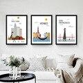 Impresiones de la lona abstracta pintura de la lona moderno arte decorativo cuadro de la historieta Amo NUEVA YORK LONDRES CIUDAD pared pinturas SIN MARCO