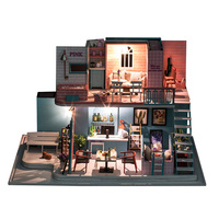 Children DIY Creative Handmade Theme Wooden Cabin Assembly House Model Building Toy Gift Set For Kids Pink Coffee Shop