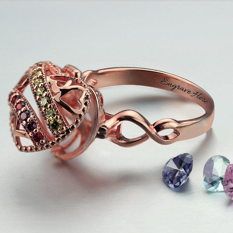Rose Gold Color Open Heart Birthstone Caged Ring Custom Jewelry