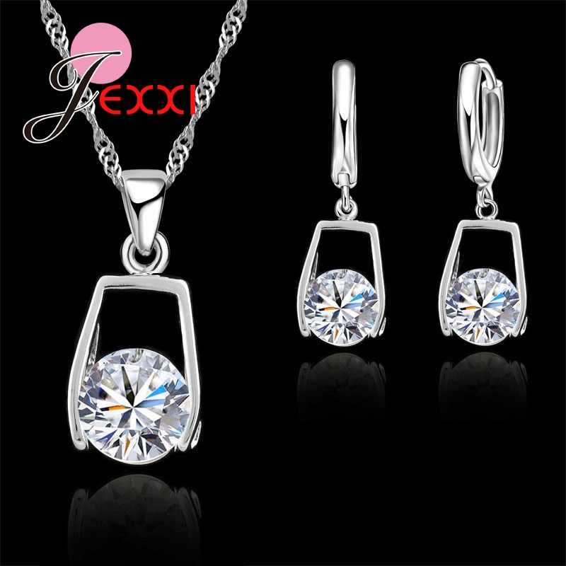 Top Quality Classic 925 Sterling Silver Crystal Water Drop Earrings Necklace Romantic Wedding Jewelry Sets