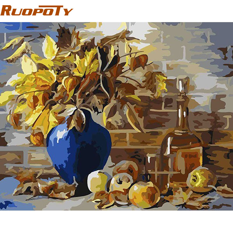 RUOPOTY Abstract Europe Flower Diy Painting By Numbers Handpainted Oil Painting Home Decor Wall Art Picture For Living Room 4050