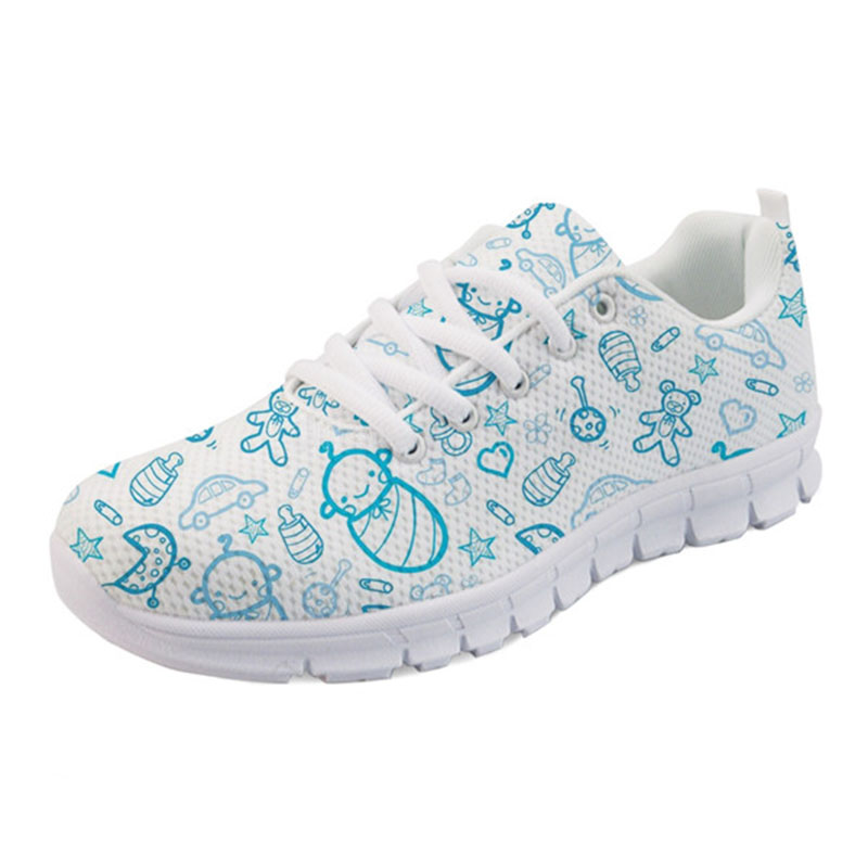 THIKIN Blue Color Sports Shoes Running Shoes With Nursing Baby Printing For Women Flat Mesh Breathable Sneakers Ladies