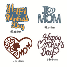 Happy Mothers Day Word Metal Cutting Dies for DIY Scrapbooking Album Embossing Folder Paper Cards Maker Template Stencils Craft