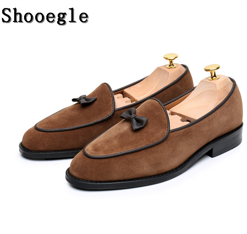 SHOOEGLE Men Handmade Suede Loafers Shoes Small Bow tie Gentleman Casual Stress Shoes Men Wedding Dress Party Shoes EU35-EU46 stylish small dots and twill pattern bow tie for men