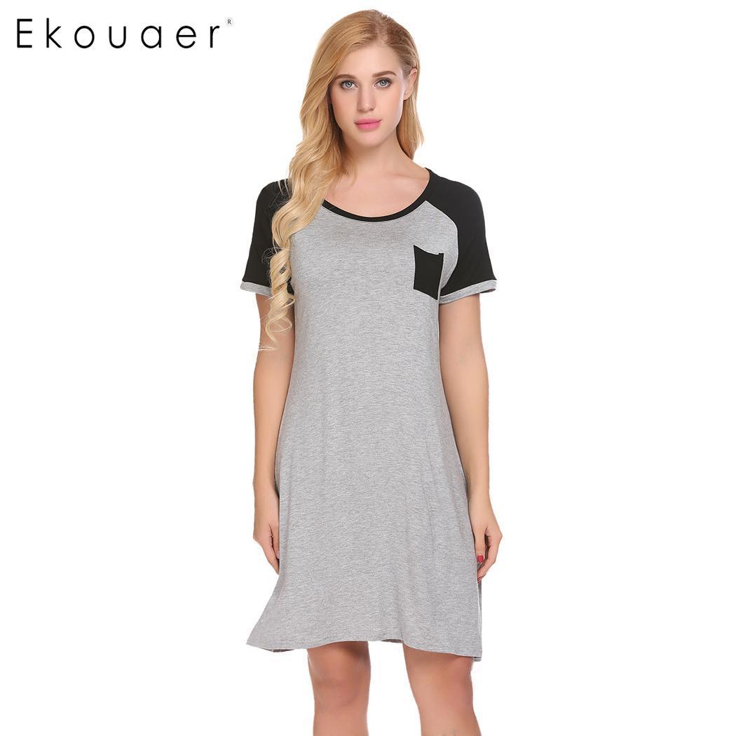 57044c2749ae Ekouaer Ночное платье Для женщин свободно сорочка трусы карман короткий  рукав o-образным вырезом Повседневное Летние Удобные Ночная Рубашка до.