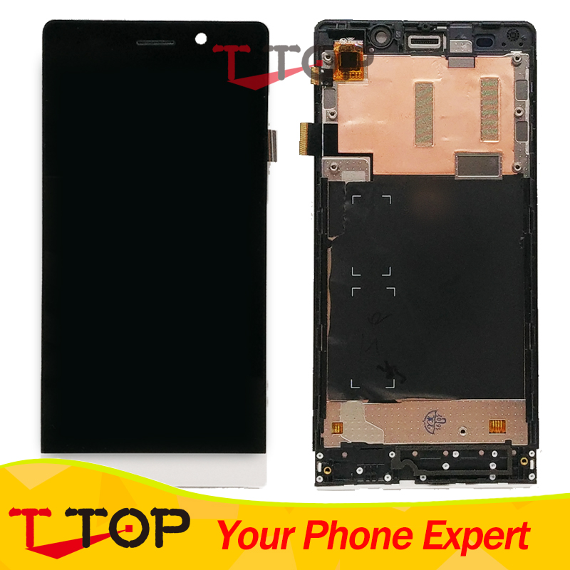 Orange/ Green Color Front Glass Touch Panel With LCD Screen Display With Frame For Highscreen Thor Digitizer Sensor 1PC/Lot