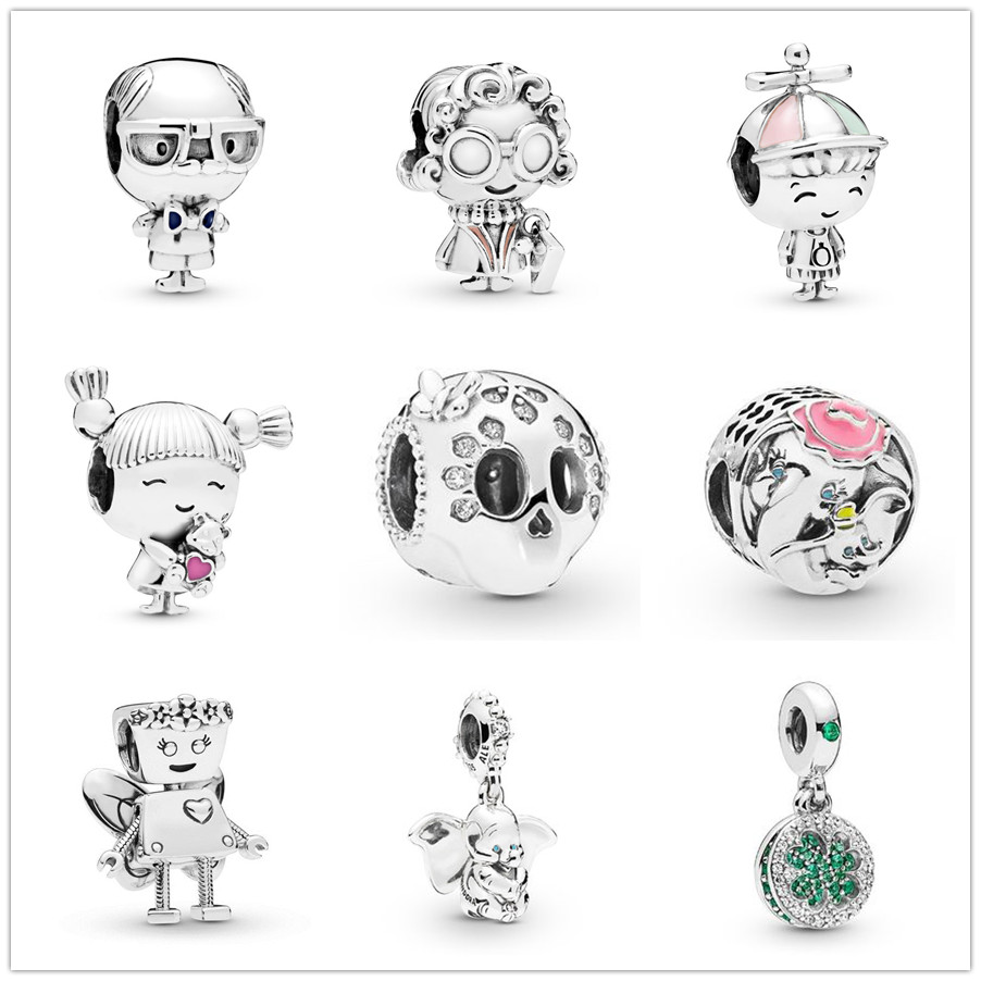 Colorful Enamel Silver colour Clover CZ Beauty Robot GirL For jewelry making Pendants Fit Original Charm Pandora Bracelets(China)