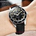 Corgeut41мм люксовый бренд Seepferdchen военные механические часы мужские автоматические спортивные дизайнерские часы кожаные механические наручны...