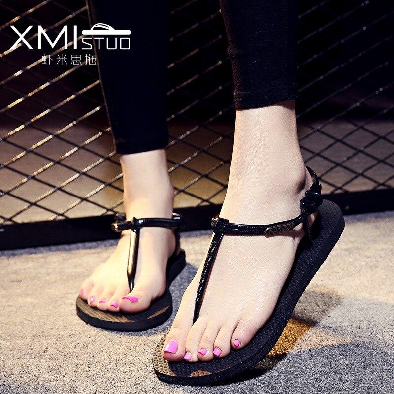671bcdac208b XMISTU girl student simple roma sandals silhouette slippery silhouette cute  sandwich sandals slippers Rome sandals cool