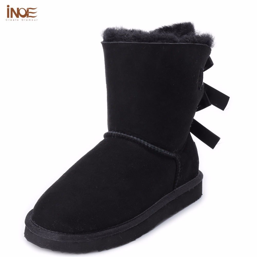 INOE Fashion Sheepskin Suede Leather Wool fur lined mid-calf Women Winter Snow Boots with Bow-knot Girls Casual Shearling Boots