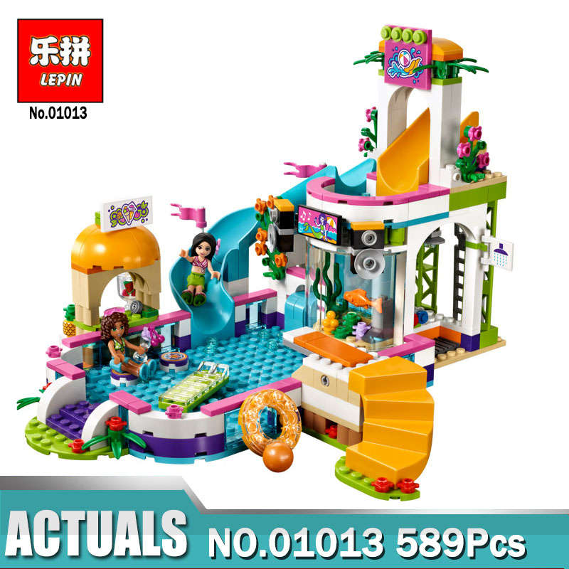 Lepin Building Blocks Model 01013 Compatible Legoing Friends Summer swimming pool 41313 Educational Toys for Children