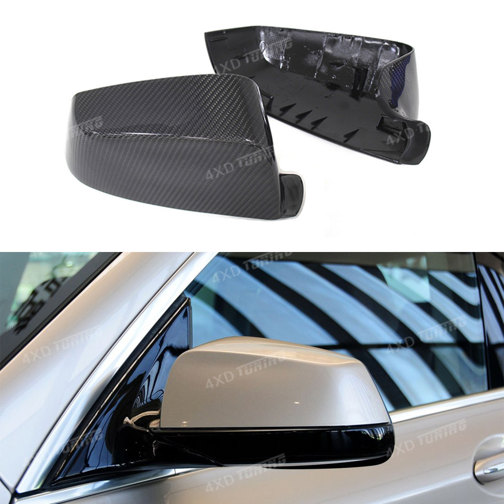 For BMW F12 F07 Mirror cover 5 6 7 series GT F07 & F06 F12 F13 & F01 F02 Carbon Fiber rear view Mirror Cover Add On&Replacement for bmw f10 carbon fiber mirror cover 5 6 7 series f12 f13 f06 rear side view mirror cover car styling replacement style 2014 up