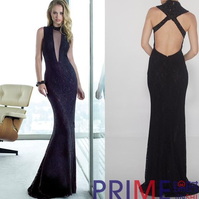 PRIME JS 2015 Latest Designs Black Lace Backless Long Evening ...