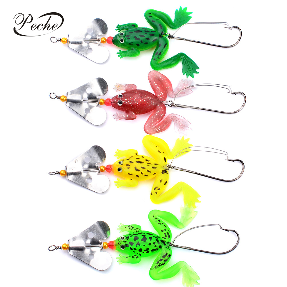 4pcs Soft Rubber Frog Bait fishing Lure Spinner Spoon Lures Bass Crank Bait EN