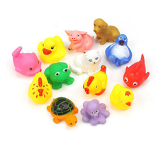 13 pieces/set Baby bath toys Infants kids playing in the water beach swimming toy duck animal squeeze-sounding dabbling toys