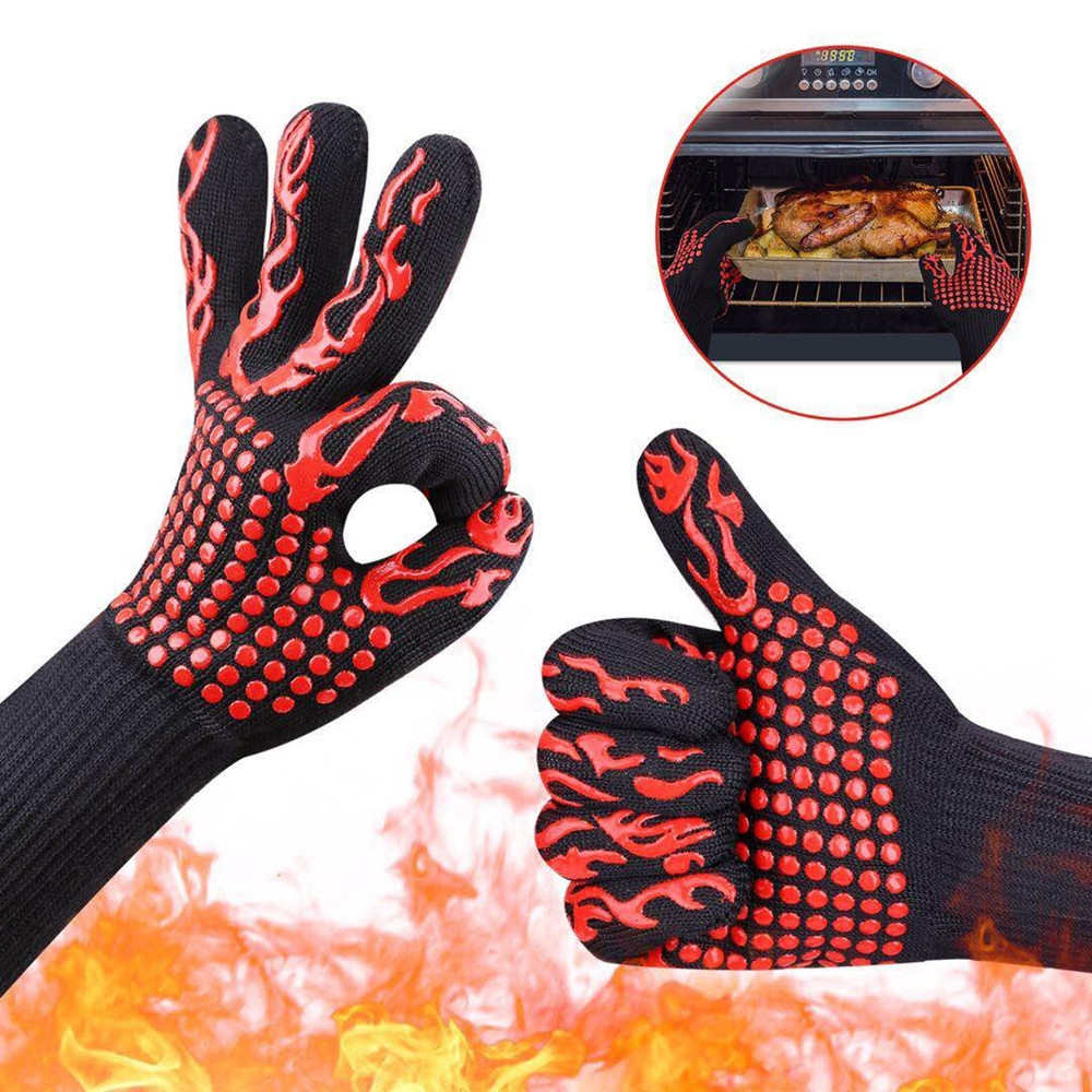 Barbecue Gloves Heat-resistant 500 Degrees Fireproof Microwave Oven Insulation Baking Silicone Non-slip Flame Retardant Gloves 1 pair heat resistant gloves for outdoor camping kitchen cooking aramid heat insulation oven mitts red silicone flame retardant