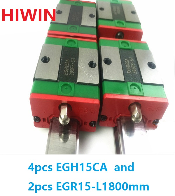 цена 2pcs 100% original HIWIN linear rail EGR15 -L 1800mm + 4pcs EGH15CA linear block for CNC