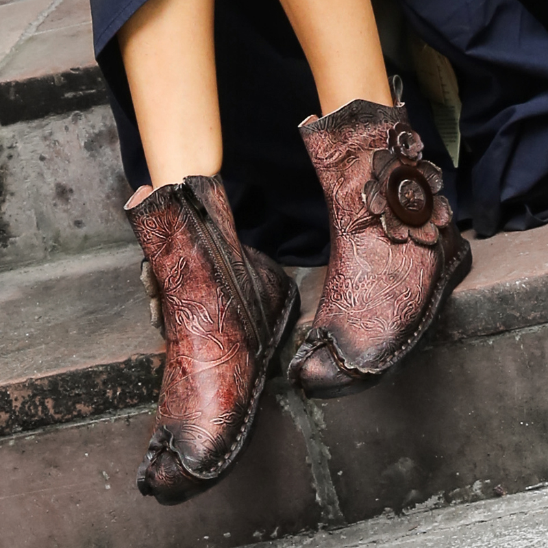 VALLU 2018 New Handmade Vintage Women Shoes Ankle Boots Genuine Leather Flower Woman Flat Boots