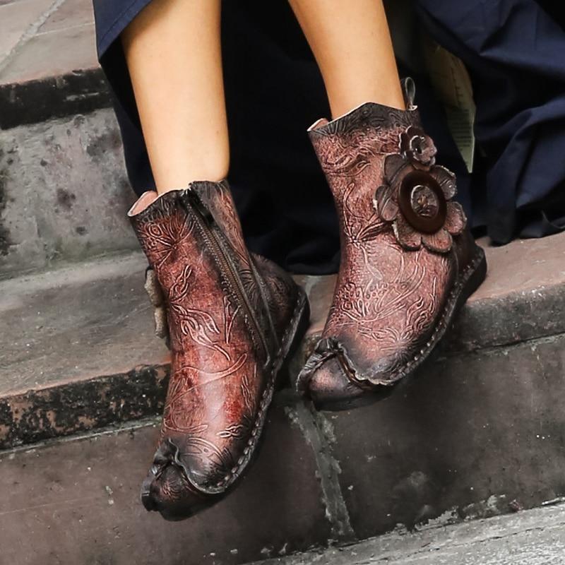 VALLU 2018 جديد اليدوية خمر النساء أحذية حذاء من الجلد حقيقية زهور بلاستيكية امرأة الأحذية المسطحة-في أحذية الكاحل من أحذية على  مجموعة 1