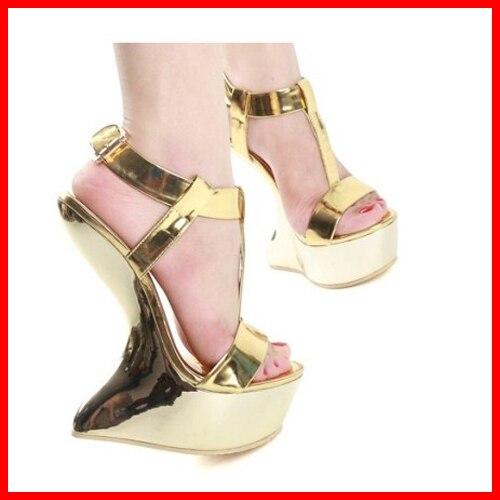 2921f89ddc90c7 15cm Fashion Women Sandals Gold Metal Buckle Platform Shoes T-strap Strange  Style Sexy Sandalias High Heels Pump Summer Sandals