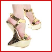 15cm Fashion Women Sandals Gold Metal Buckle Platform Shoes T-strap Strange Style Sexy Sandalias High Heels Pump Summer Sandals