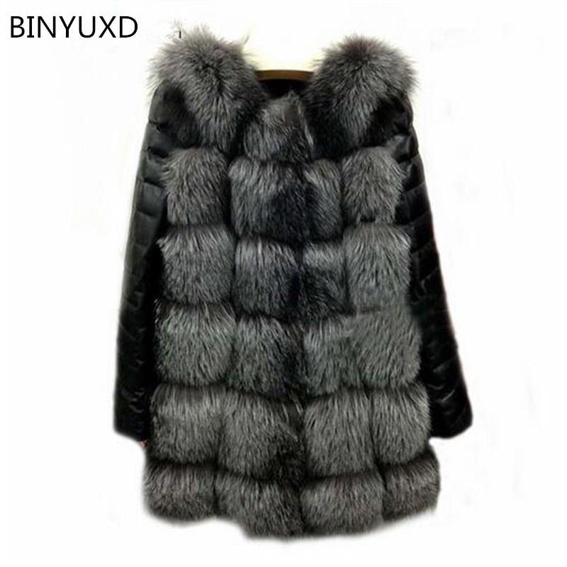 BINYUXD 2017 New High Quality High Imitation Silver Fox Fur Coat PU Sleeves Warm Winter Coat