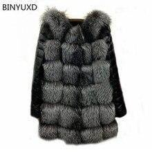 Binyuxd Новинка 2017 года Высокое качество высокая имитация Silver Fox Мех рукава пальто ПУ теплое зимнее пальто лиса пальто большие размеры пальто