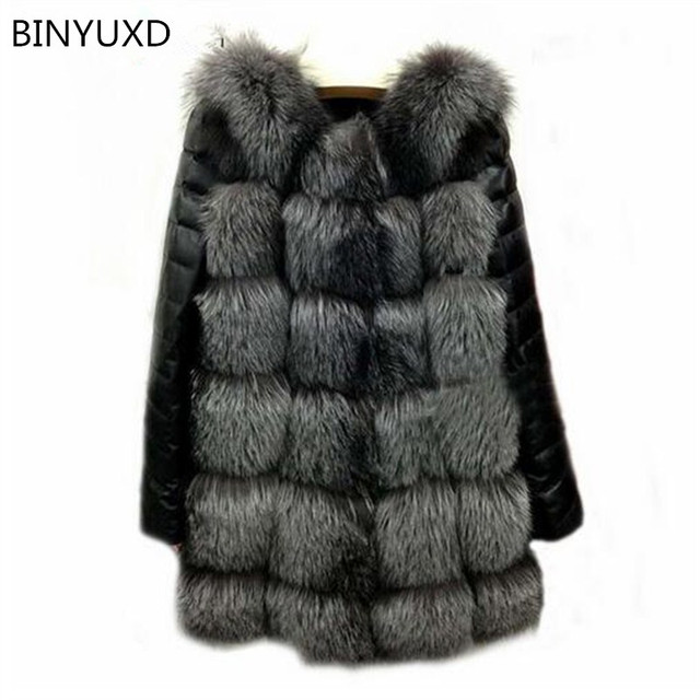 BINYUXD 2017 New High Quality High Imitation Silver Fox Fur Coat PU Sleeves Warm Winter Coat Fox Coat Big Yards Overcoat