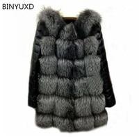 2016 New High Quality High Imitation Silver Fox Fur Coat PU Sleeves Warm Winter Coat Fox